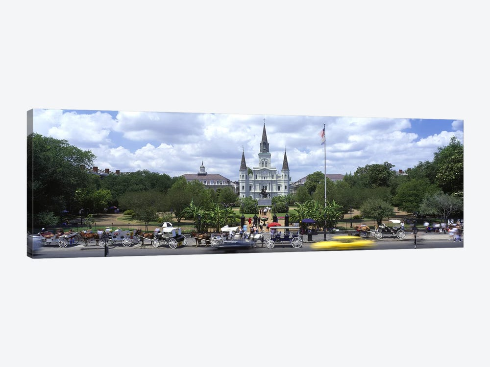 Cathedral at the roadside, St. Louis Cathedral, Jackson Square, French Quarter, New Orleans, Louisiana, USA by Panoramic Images 1-piece Canvas Art Print