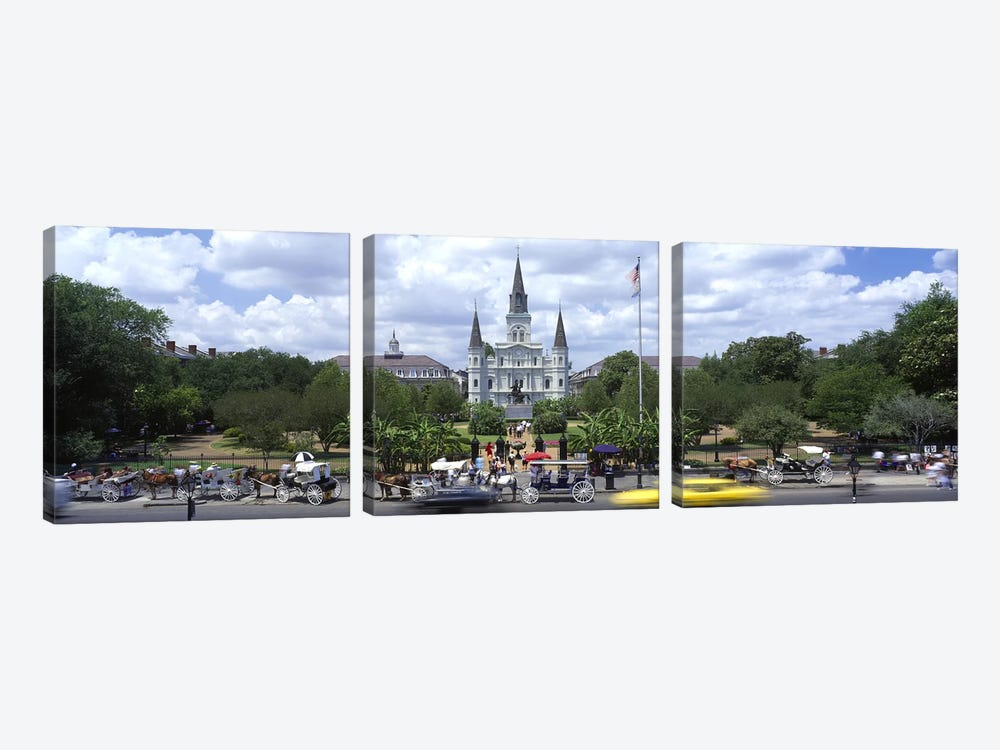 Cathedral at the roadside, St. Louis Cathedral, Jackson Square, French Quarter, New Orleans, Louisiana, USA by Panoramic Images 3-piece Canvas Print