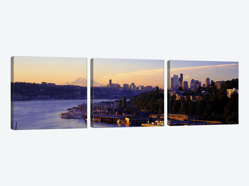 Sunrise, Lake Union, Seattle, Washington State, USA by Panoramic Images 3-piece Canvas Wall Art