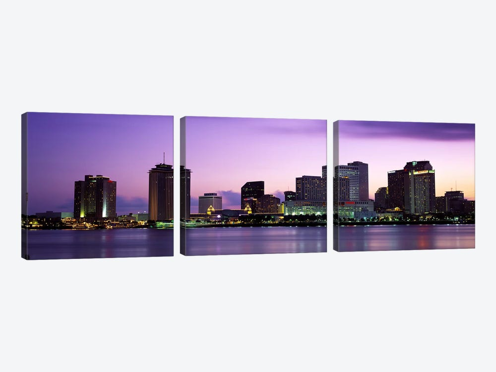 Dusk Skyline, New Orleans, Louisiana, USA by Panoramic Images 3-piece Canvas Wall Art