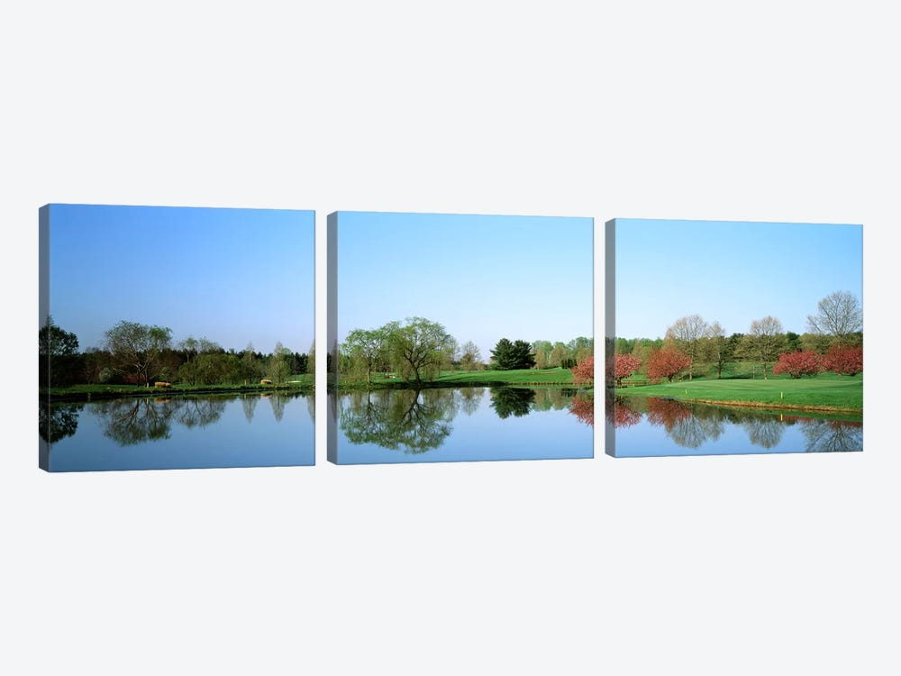 Pond at a golf course, Towson Golf And Country Club, Towson, Baltimore County, Maryland, USA by Panoramic Images 3-piece Canvas Art
