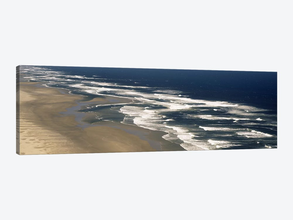 Aerial View Of Waves Hitting The Beach, Florence, Lane County, Oregon, USA by Panoramic Images 1-piece Canvas Art Print