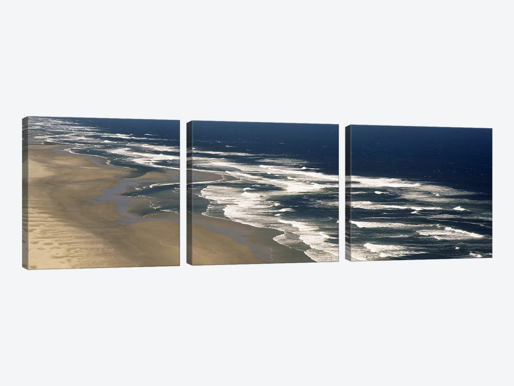 Aerial View Of Waves Hitting The Beach, Florence, Lane County, Oregon, USA by Panoramic Images 3-piece Art Print