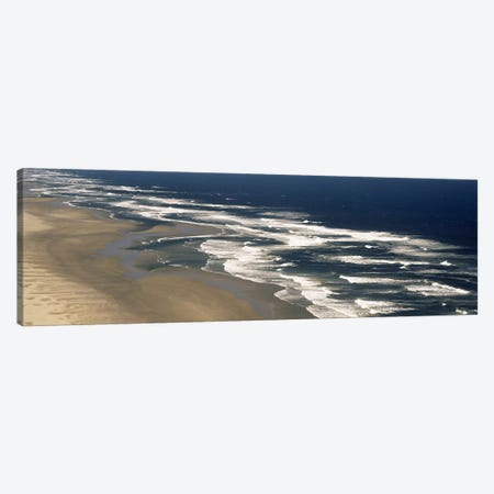 Aerial View Of Waves Hitting The Beach, Florence, Lane County, Oregon, USA Canvas Print #PIM2563} by Panoramic Images Canvas Wall Art