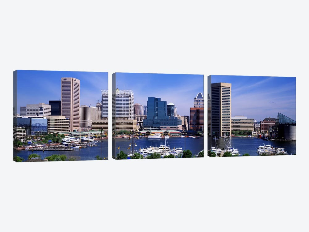 Inner Harbor Federal Hill Skyline Baltimore MD by Panoramic Images 3-piece Canvas Artwork