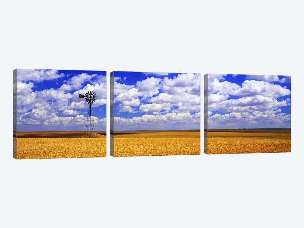 Windmill Wheat Field, Othello, Washington State, USA by Panoramic Images 3-piece Canvas Print