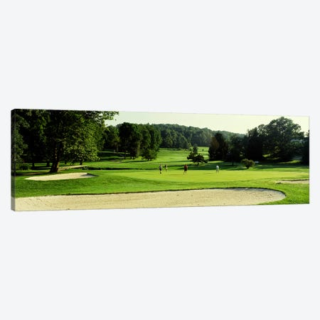 Four people playing on a golf course, Baltimore County, Maryland, USA Canvas Print #PIM2570} by Panoramic Images Art Print