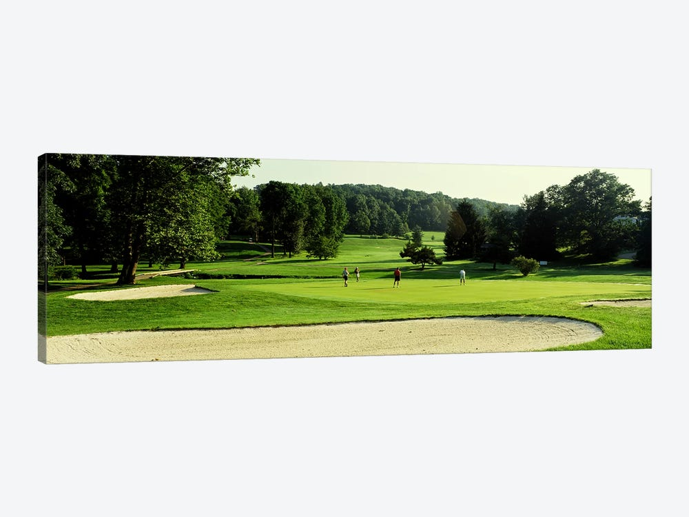 Four people playing on a golf course, Baltimore County, Maryland, USA by Panoramic Images 1-piece Canvas Art Print