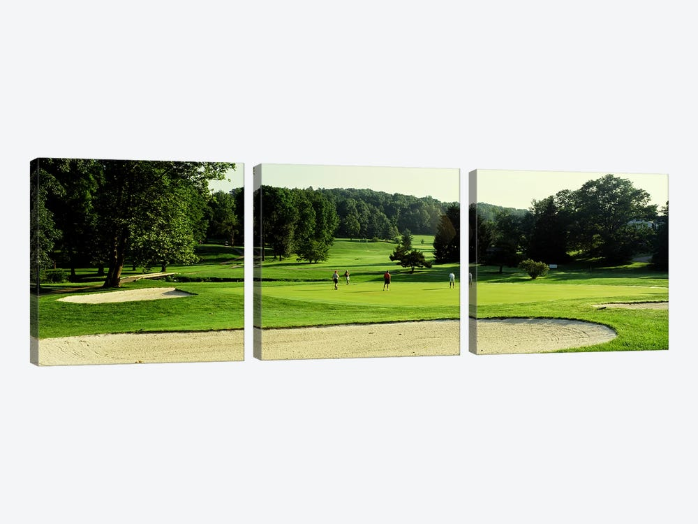 Four people playing on a golf course, Baltimore County, Maryland, USA by Panoramic Images 3-piece Canvas Print