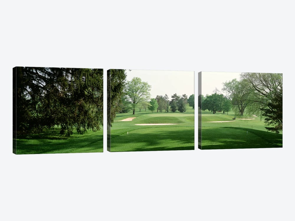 Sand trap at a golf course, Baltimore Country Club, Maryland, USA by Panoramic Images 3-piece Canvas Art