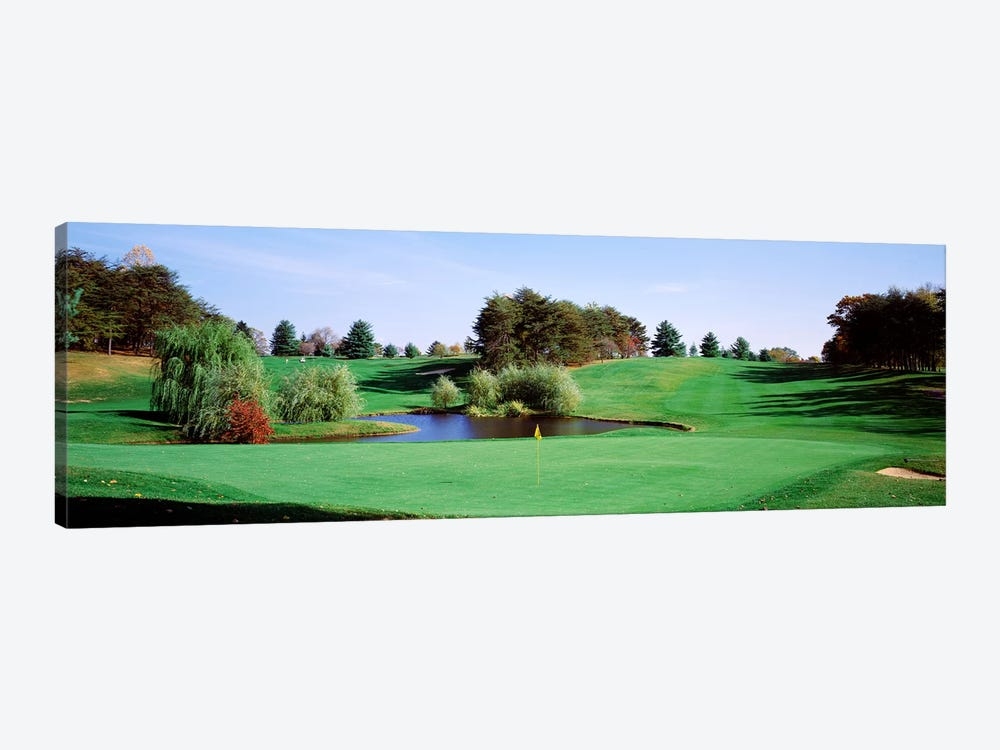 Pond at a golf course, Baltimore Country Club, Baltimore, Maryland, USA by Panoramic Images 1-piece Canvas Print