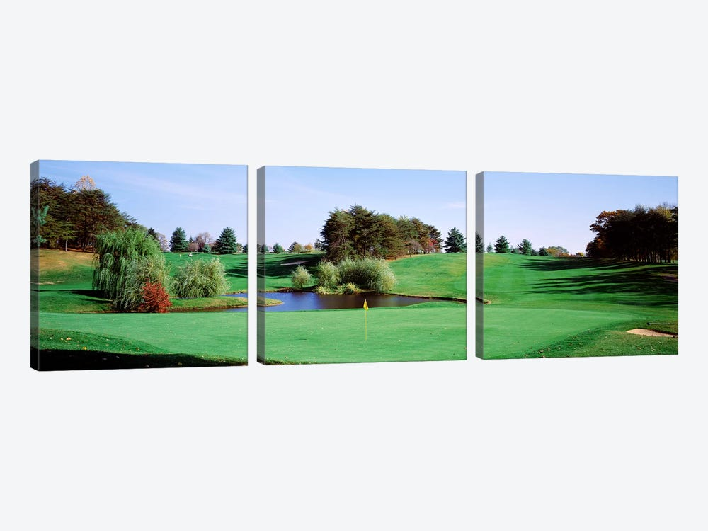 Pond at a golf course, Baltimore Country Club, Baltimore, Maryland, USA by Panoramic Images 3-piece Canvas Print
