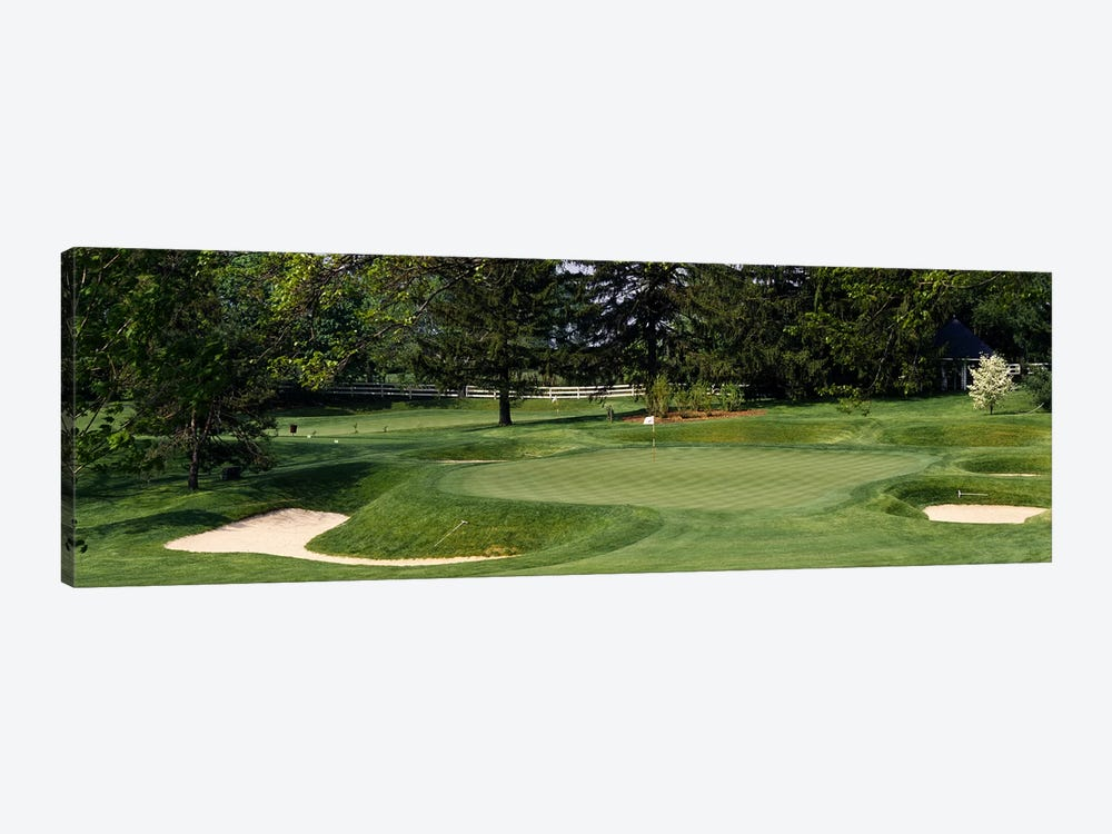 Sand traps on a golf course, Baltimore Country Club, Baltimore, Maryland, USA by Panoramic Images 1-piece Canvas Wall Art