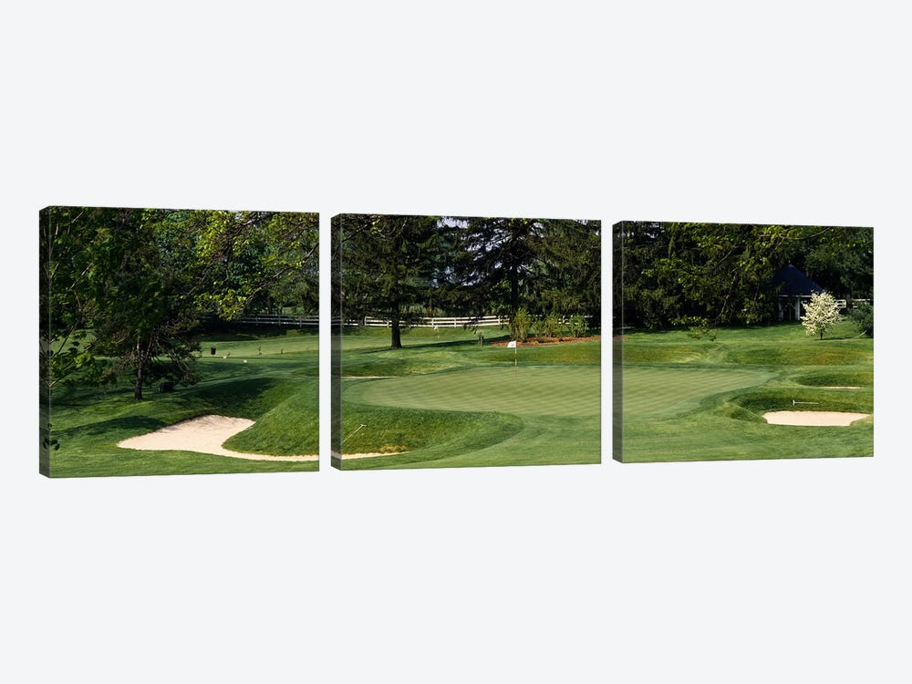 Sand traps on a golf course, Baltimore Country Club, Baltimore, Maryland, USA by Panoramic Images 3-piece Canvas Art