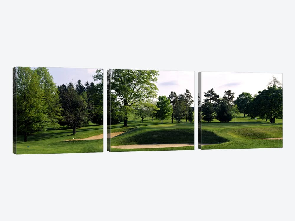 Sand traps on a golf course, Baltimore Country Club, Baltimore, Maryland, USA #2 by Panoramic Images 3-piece Art Print