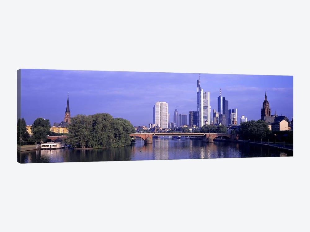 Skyline Main River Frankfurt Germany by Panoramic Images 1-piece Canvas Print
