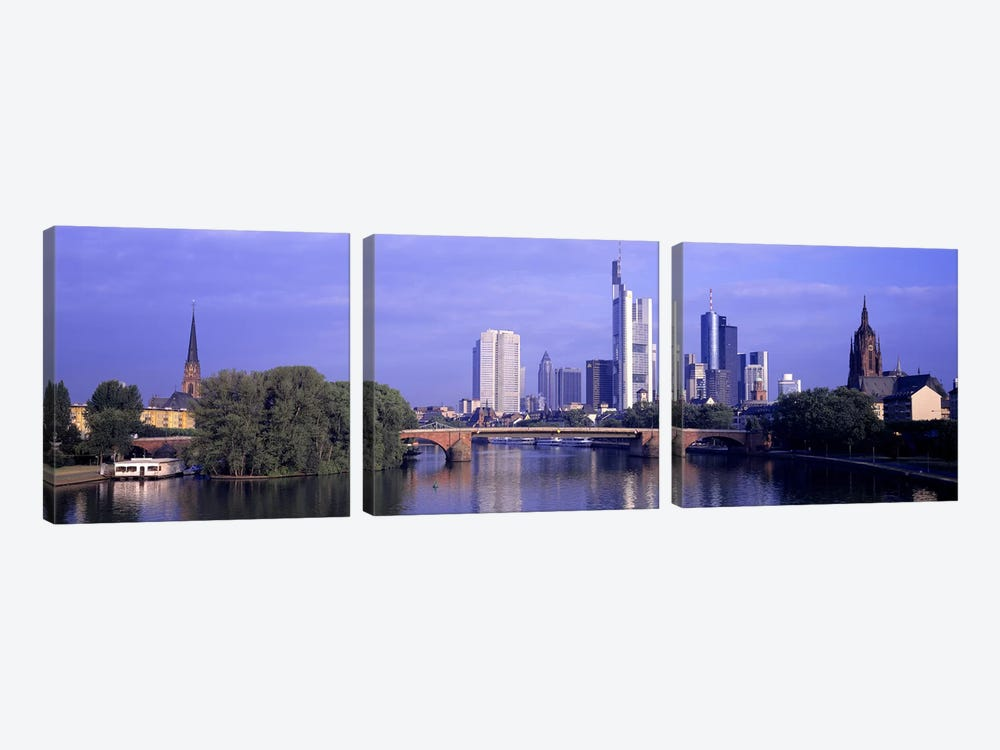 Skyline Main River Frankfurt Germany by Panoramic Images 3-piece Canvas Art Print