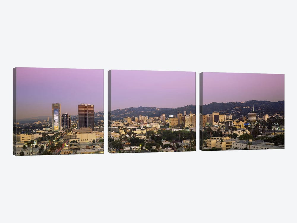 High angle view of a cityscape, Hollywood Hills, City of Los Angeles, California, USA by Panoramic Images 3-piece Canvas Art Print