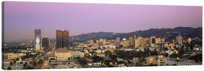 High angle view of a cityscape, Hollywood Hills, City of Los Angeles, California, USA Canvas Art Print