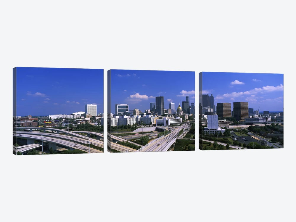 High angle view of elevated roads with buildings in the background, Atlanta, Georgia, USA by Panoramic Images 3-piece Canvas Print