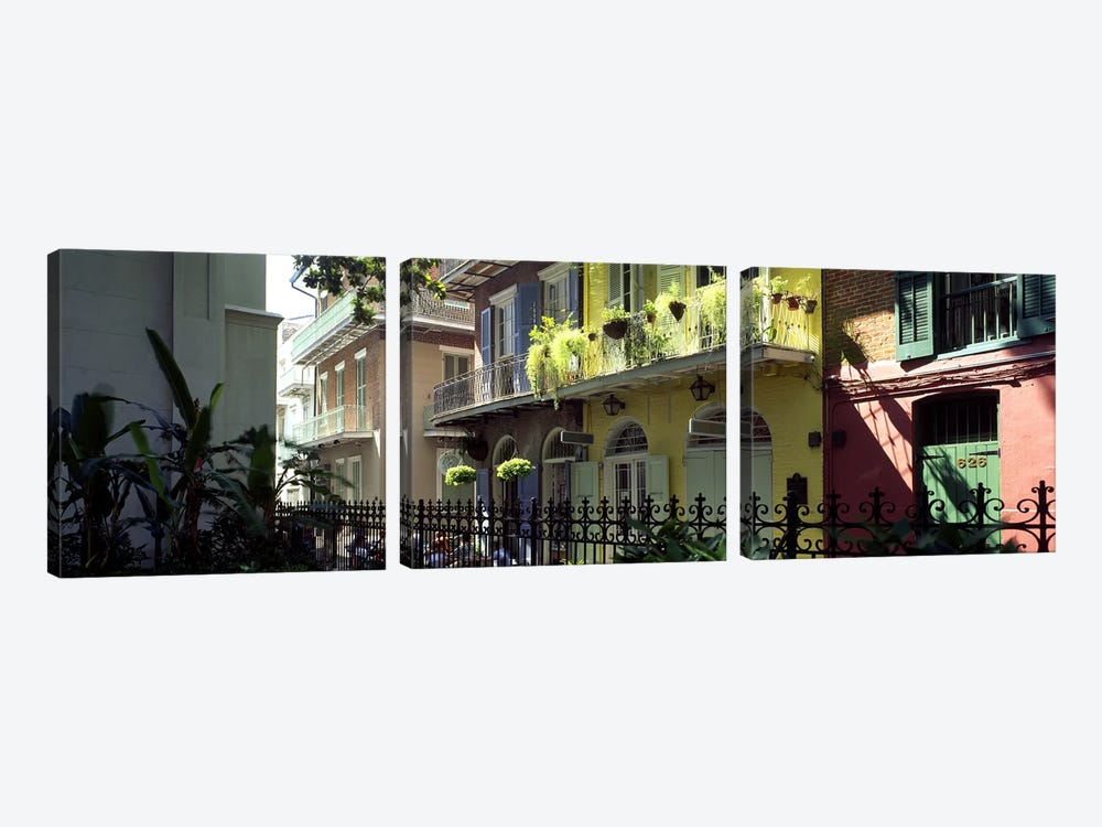 Buildings along the alleyPirates Alley, New Orleans, Louisiana, USA by Panoramic Images 3-piece Canvas Art Print