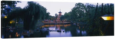 Pagoda lit up at dusk, Tivoli Gardens, Copenhagen, Denmark Canvas Art Print