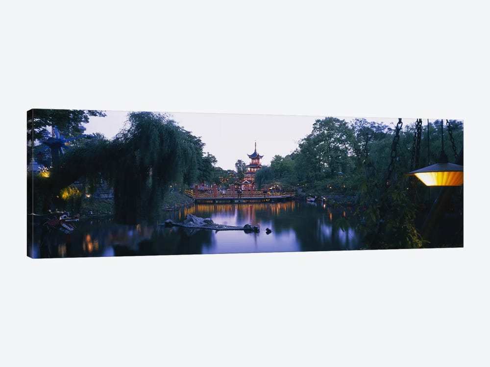 Pagoda lit up at dusk, Tivoli Gardens, Copenhagen, Denmark by Panoramic Images 1-piece Art Print
