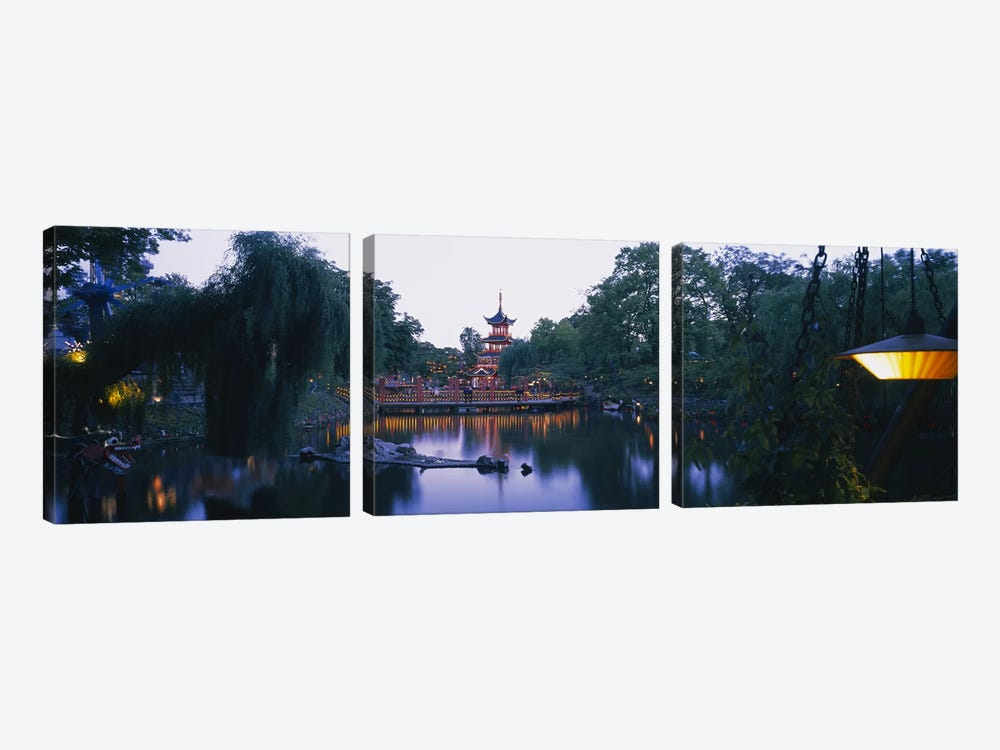 Pagoda lit up at dusk, Tivoli Gardens, Copenhagen, Denmark 3-piece Canvas Art Print