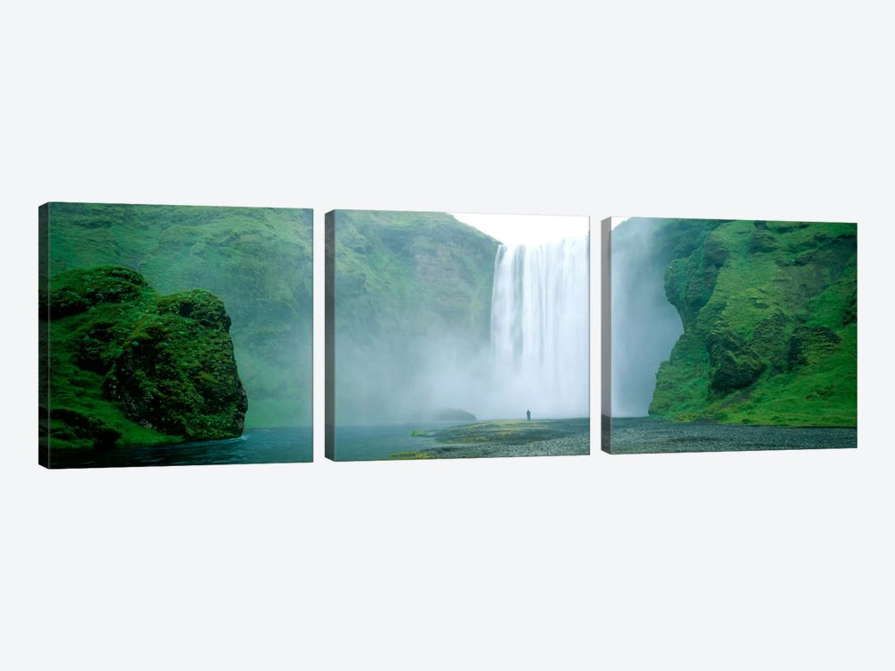 Lone Admirer, Skogafoss, Iceland by Panoramic Images 3-piece Art Print