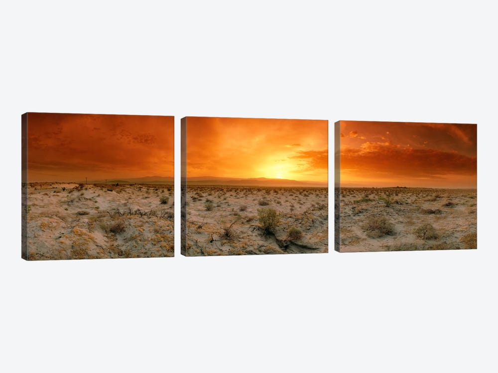 Desert Sunset, Palm Springs, Riverside County, California, USA by Panoramic Images 3-piece Canvas Art Print