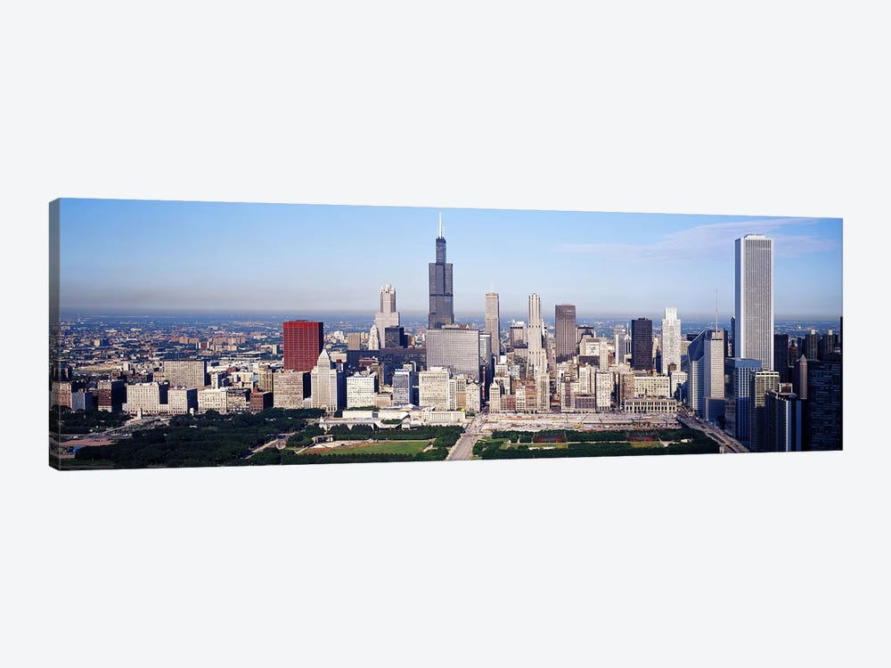 Aerial view of buildings in a city, Chicago, Illinois, USA by Panoramic Images 1-piece Canvas Artwork