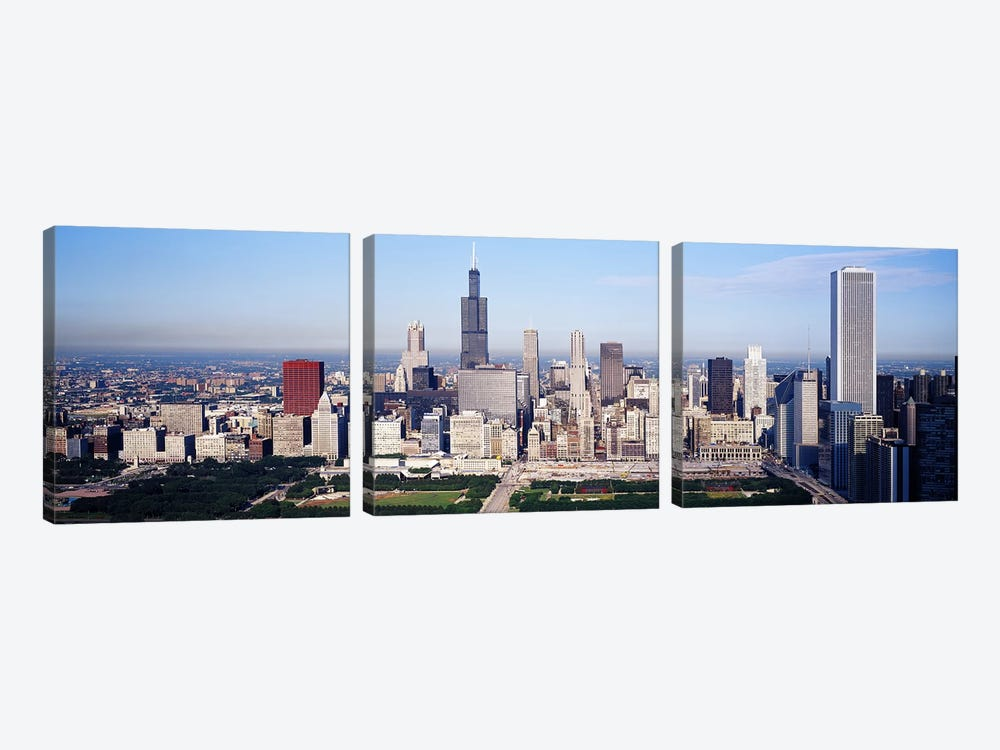 Aerial view of buildings in a city, Chicago, Illinois, USA by Panoramic Images 3-piece Canvas Art