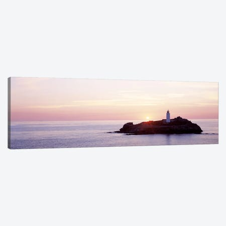 Sunset, Godrevy Lighthouse, Cornwall, England, United Kingdom Canvas Print #PIM2602} by Panoramic Images Canvas Art Print