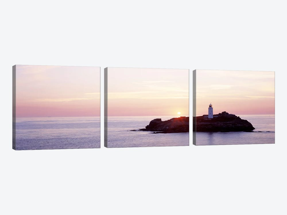 Sunset, Godrevy Lighthouse, Cornwall, England, United Kingdom by Panoramic Images 3-piece Canvas Art