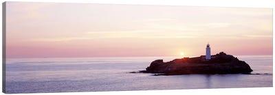 Sunset, Godrevy Lighthouse, Cornwall, England, United Kingdom Canvas Art Print