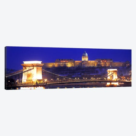 Buda Castle (Royal Palace) With The Széchenyi Chain Bridge In The Foreground, Budapest, Hungary Canvas Print #PIM2607} by Panoramic Images Canvas Art