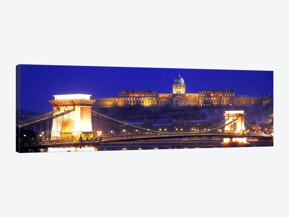 Buda Castle (Royal Palace) With The Széchenyi Chain Bridge In The Foreground, Budapest, Hungary by Panoramic Images 1-piece Canvas Print