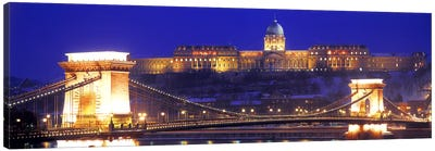 Buda Castle (Royal Palace) With The Széchenyi Chain Bridge In The Foreground, Budapest, Hungary Canvas Art Print