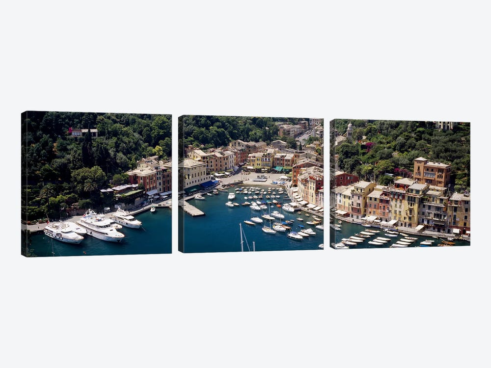 Aerial View Of The Harbour, Portofino, Genoa, Italian Riviera, Italy by Panoramic Images 3-piece Canvas Artwork
