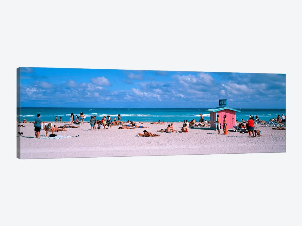 Tourist on the beachMiami, Florida, USA by Panoramic Images 1-piece Canvas Artwork