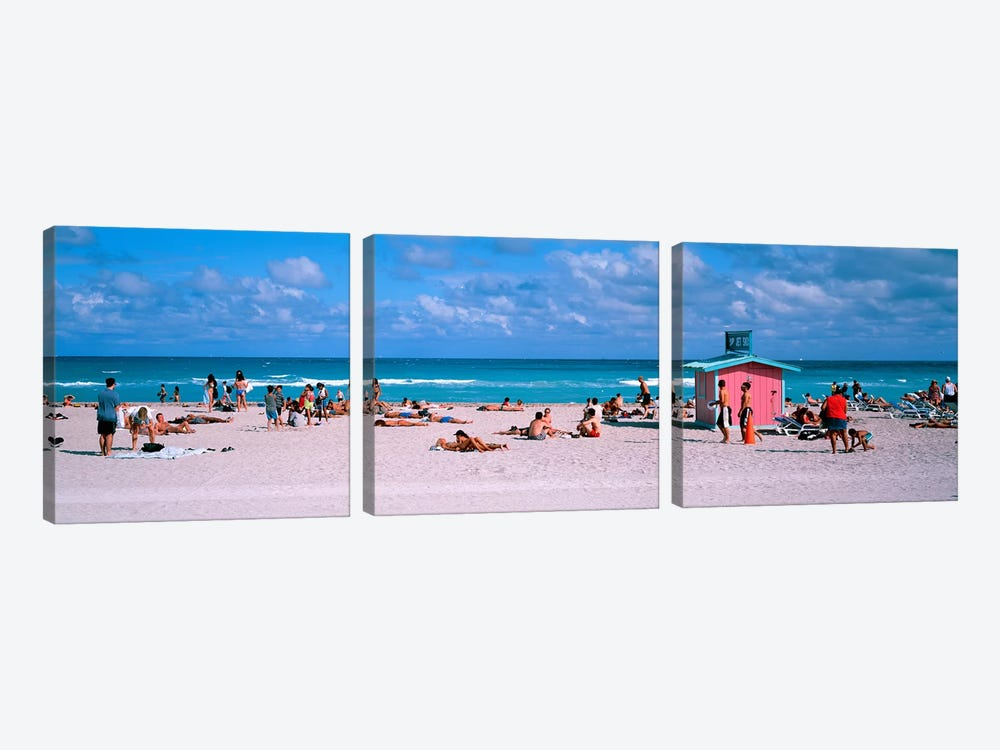 Tourist on the beachMiami, Florida, USA by Panoramic Images 3-piece Canvas Art