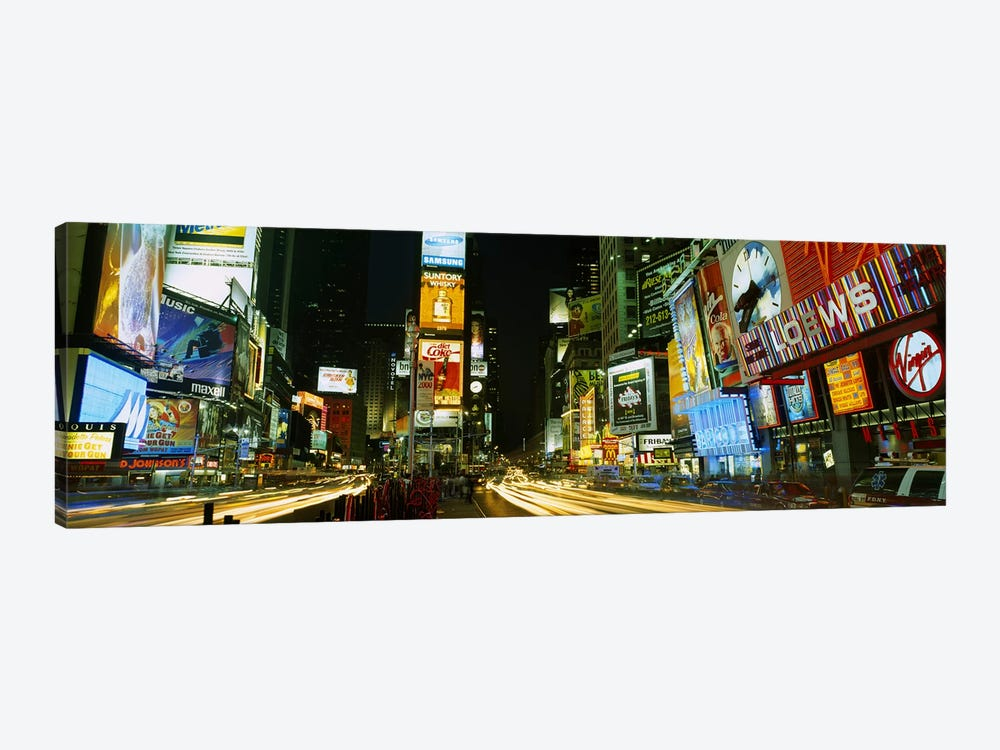 Neon boards in a city lit up at nightTimes Square, New York City, New York State, USA by Panoramic Images 1-piece Canvas Artwork