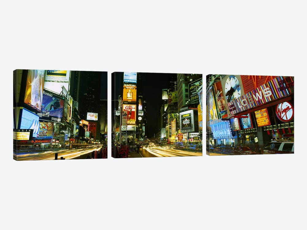 Neon boards in a city lit up at nightTimes Square, New York City, New York State, USA by Panoramic Images 3-piece Canvas Wall Art