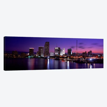 Night Skyline Miami FL USA Canvas Print #PIM2624} by Panoramic Images Canvas Wall Art