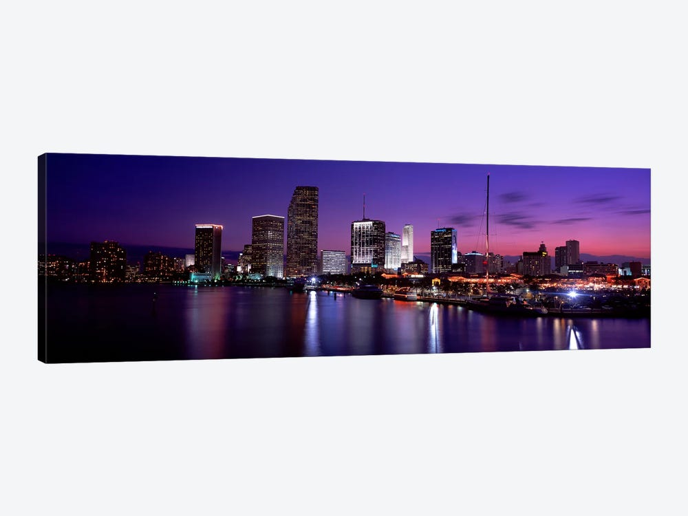 Night Skyline Miami FL USA by Panoramic Images 1-piece Canvas Artwork