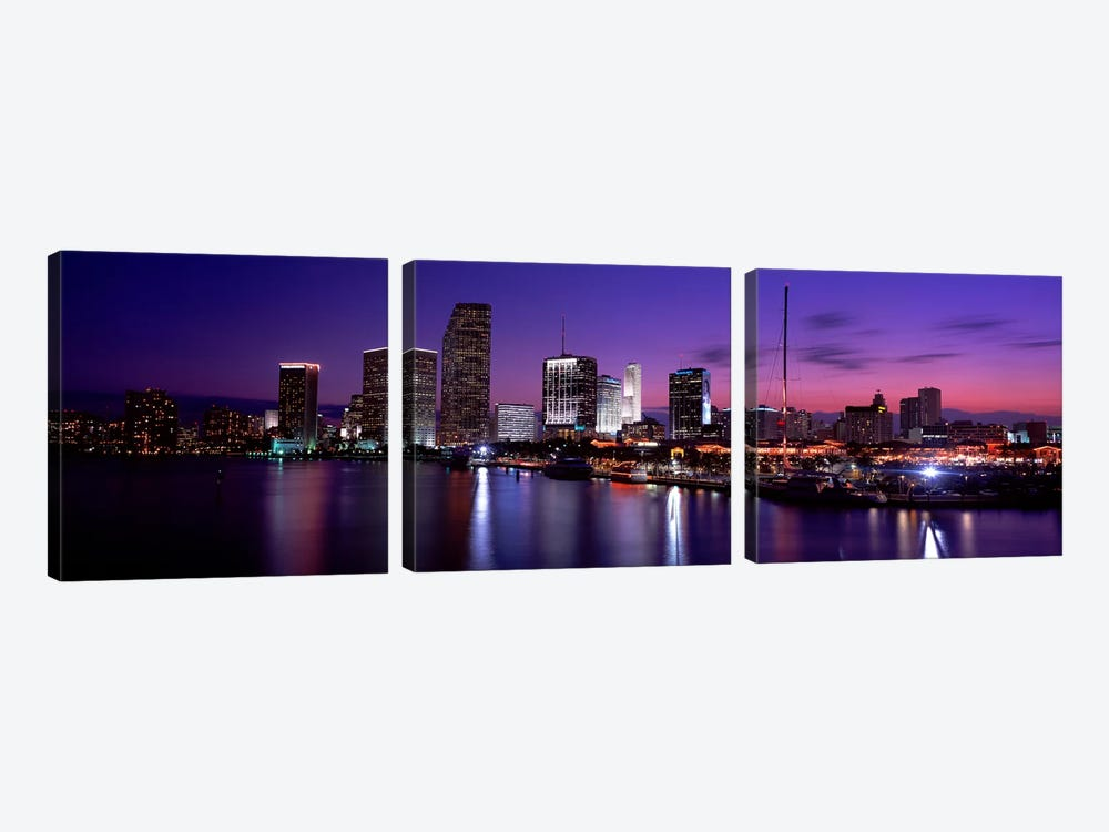Night Skyline Miami FL USA by Panoramic Images 3-piece Canvas Art