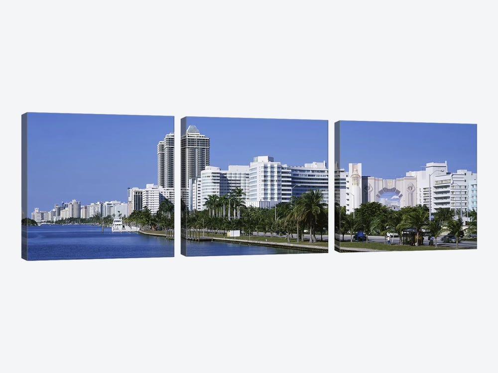 USAFlorida, Miami, Miami Beach, Panoramic view of waterfront, & skyline by Panoramic Images 3-piece Art Print