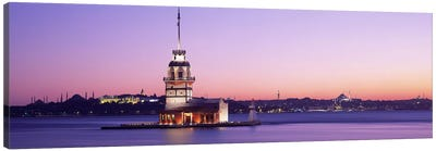 Sunset Lighthouse Istanbul Turkey Canvas Print #PIM2632