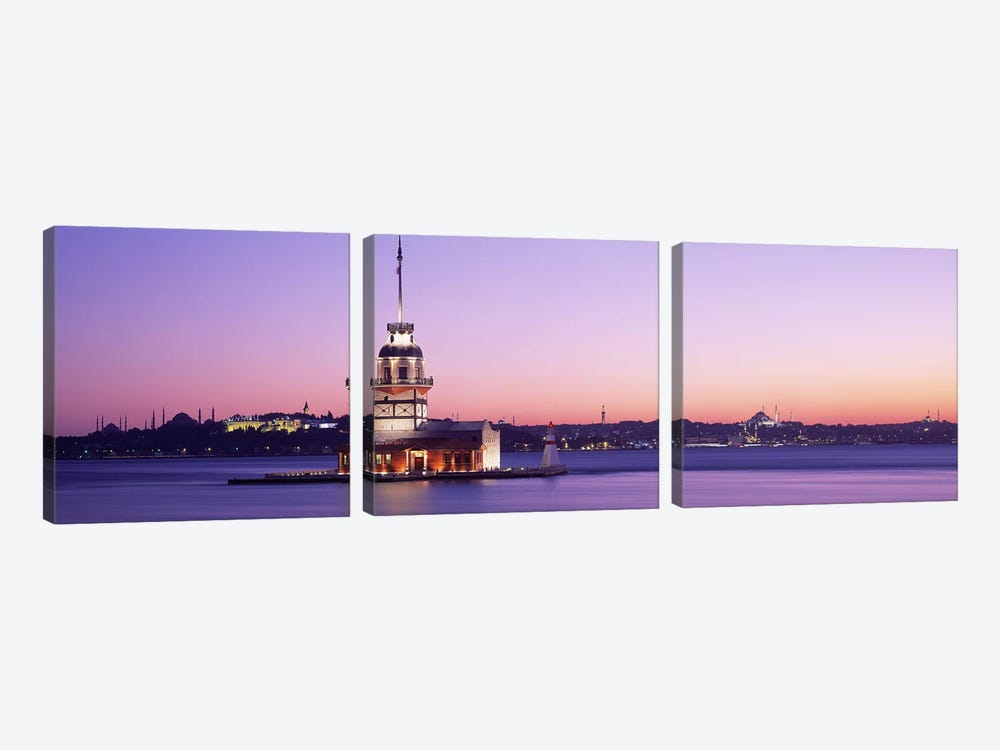 Sunset Lighthouse Istanbul Turkey by Panoramic Images 3-piece Art Print