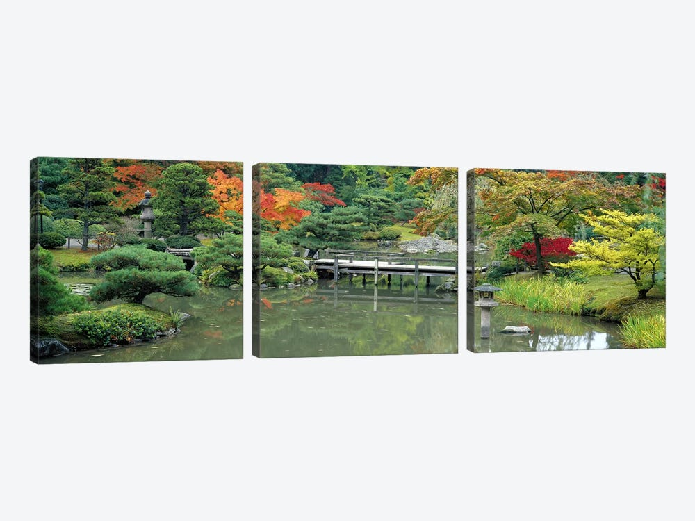 Plank BridgeThe Japanese Garden, Seattle, Washington State, USA by Panoramic Images 3-piece Canvas Artwork